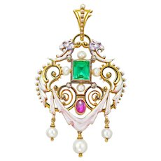 A Renaissance Revival Emerald, Ruby And Pearl Pendant