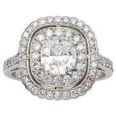 A Cushion-cut Diamond Cluster Ring