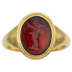 A Georgian Hardstone Intaglio Ring Depicting Pan