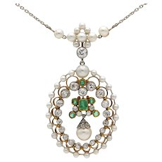 An Edwardian pearl, emerald and diamond necklace