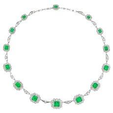 A Fine Vintage Emerald And Diamond Necklace
