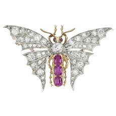 A Late Victorian Burmese Ruby And Diamond Butterfly Brooch