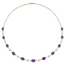 A Suffragette Amethyst And Enamel Necklace
