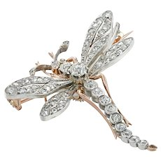 A Belle Epoque Diamond-set Dragonfly Brooch