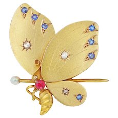 A Turn-of-the-century Gold Butterfly Brooch/pendant