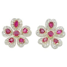 A Pair Of Late Victorian Ruby And Diamond Earrings
