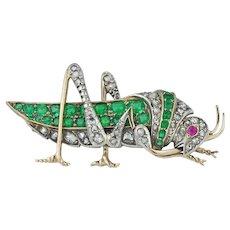 A Victorian Emerald, Ruby And Diamond Grasshopper Brooch