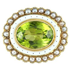 An Edwardian peridot, pearl and enamel brooch