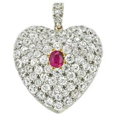 A Victorian Diamond And Ruby Heart-locket Pendant
