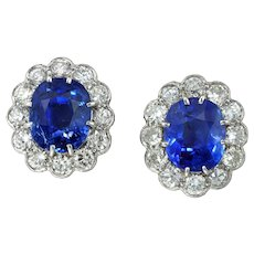 A Pair Vintage Of Sapphire And Diamond Cluster Earrings