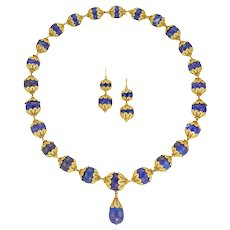 A 19th Century Lapis Lazuli Bead And Gold Demi-parure