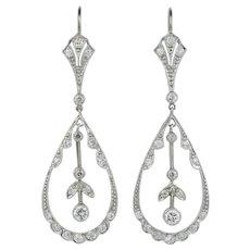 A Pair Of Vintage Diamond Drop Earrings