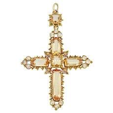 A Georgian Topaz Cross Pendant