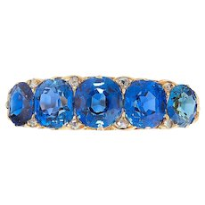 A Late Victorian Sapphire And Diamond Five-stone Ring