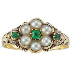 A Victorian Pearl And Emerald Mourning Ring