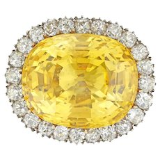 An Important Yellow Sapphire And Diamond Cluster Brooch/ring
