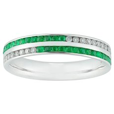An Emerald And Diamond Double Row Ring