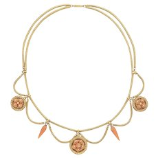An Antique Coral And Yellow Gold Swag Necklace