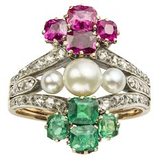 A Nineteenth Century Emerald, Ruby, Diamond And Pearl Ring