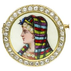 A Victorian Circular Enamel Brooch With Lady's Head