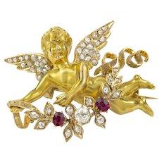 A Nineteenth Century French Gold Cherub Brooch