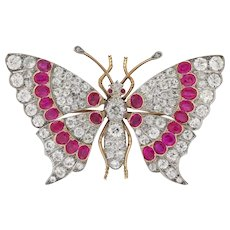 A Late Victorian Ruby And Diamond Butterfly Brooch