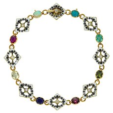A Gold And Enamel Gemset Bracelet By Giuliano