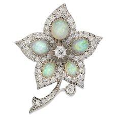An Victorian Opal And Diamond Flower Brooch