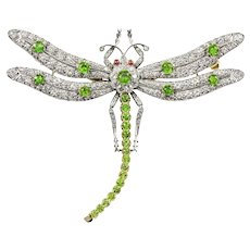 A Green Demantoid Garnet And Diamond Dragonfly Brooch