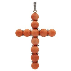 An Early 20th Century Coral And Diamond Cross