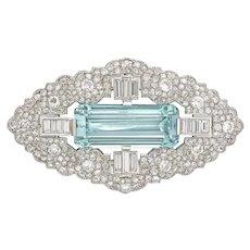 An Art Deco Aquamarine And Diamond Brooch