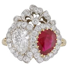 A Ruby And Diamond Double Heart Ring