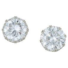 A Pair Of Large Diamond Stud Earrings