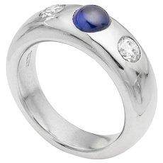 A Platinum Sapphire And Diamond Gypsy Ring