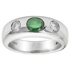 A Platinum Emerald And Diamond Gypsy Ring