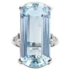 A Single Stone Aquamarine Ring