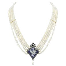A Georgian Natural Pearl Necklace With Blue Enamel Centre