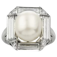 An Art Deco Style Natural Pearl And Diamond Cluster Ring