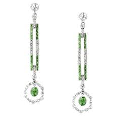 A Pair Of Demantoid Garnet And Diamond Drop Earrings