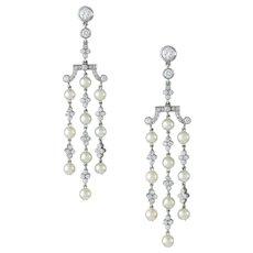 A Pair Of Natural Pearl And Diamond Tassel Drop Earrings