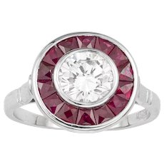 A Diamond And Ruby Target Ring
