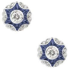 A Pair Of Diamond And Sapphire Cluster Star Earring
