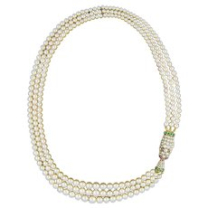 A Fine Early Victorian Three-row Natural Pearl Necklace