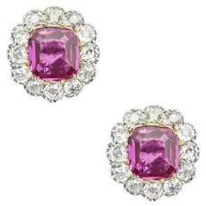 A Pair Of Early Victorian Ruby And Diamond Cluster Earrings
