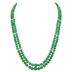 An Important Jade And Diamond Double Strand Necklace