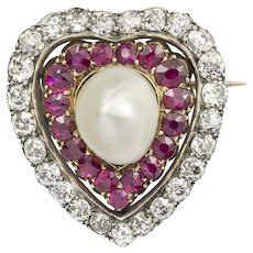 A Victorian Ruby, Diamond And Pearl Heart Brooch