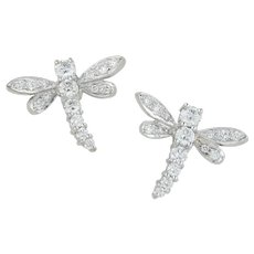 A Pair of Diamond And 18ct White Gold Dragonfly Earrings