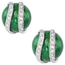 A Pair Of Green Enamel And Diamond Earrings