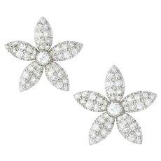 A Pair Of Victorian Jasmine Petal Diamond Earrings