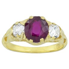 A Victorian Style Three-stone Ruby And Diamond Ring